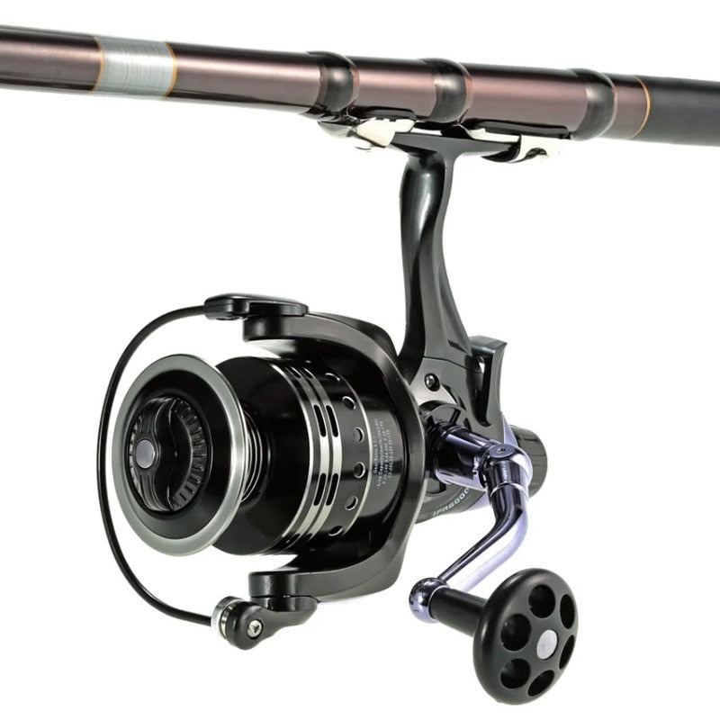 New 2021 Design Fishing Reel Saltwater 11+1BB Metal Feeder Reel Spinning 3000 4000 5000 6000 Double Unloading Reel
