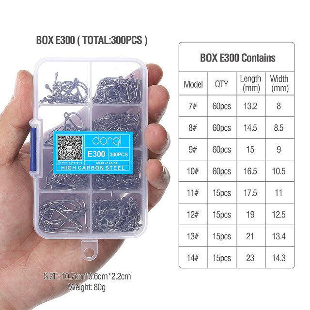 """JUST ARRIVED""  ⭐FREE + S&H⭐  300pcs/Box High Carbon Steel Fishing hooks Mixed Size"