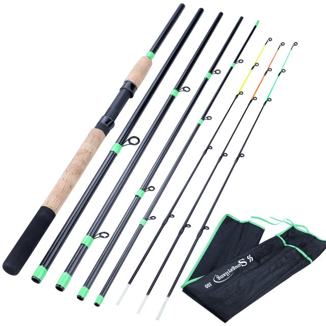 Sougayilang New Feeder Fishing Rod Lengthened Handle 6 Sections Fishing Rod L M H Power Carbon Fiber Travel Rod Fishing Tackle|Fishing Rods