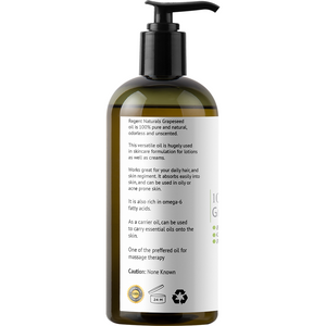 100% Pure Organic Grapeseed Oil 16oz. Perfect as Skin Moisturizer, Hair care & aromatherapy. Order one now!