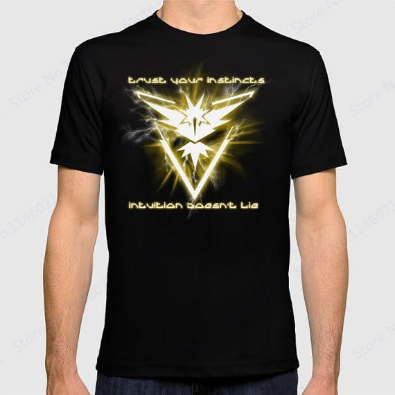 Yeezy Pokemon Go Team T-shirt Team Instinct Running T Shirts Men Short Sleeve Crewneck Sports Shirt Anime