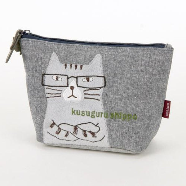 Lulugift Nekozawa Kusuguru Shippo Make-up Bag Gray 眼鏡貓咪文具收納袋