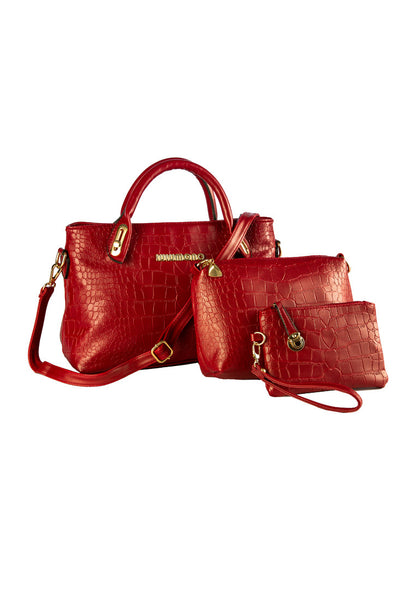 Lulumono Faux Crocodile Leather Bags Set of 3 Red