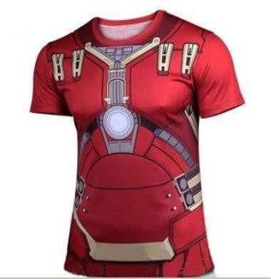 2016 Marvel Iron Man Hulk Buster top short sleeve fashion men sport fitness t shirt round neck