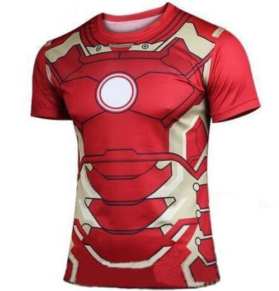 2016 Marvel Ironman Mark 43 top short sleeve fashion men sport fitness t shirt round neck