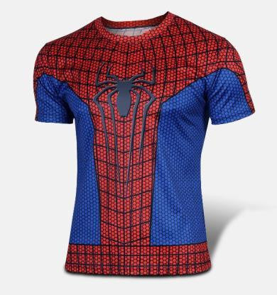 2016 Marvel Spiderman top short sleeve fashion men sport fitness t shirt round neck