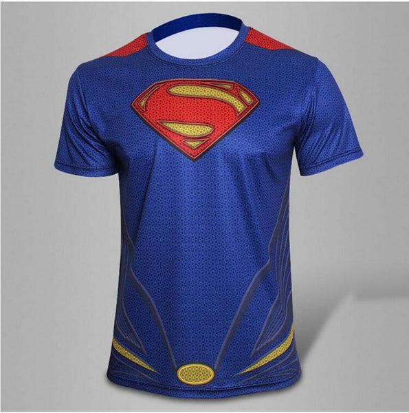 2016 DC Universe Superman top short sleeve fashion men sport fitness t shirt round neck