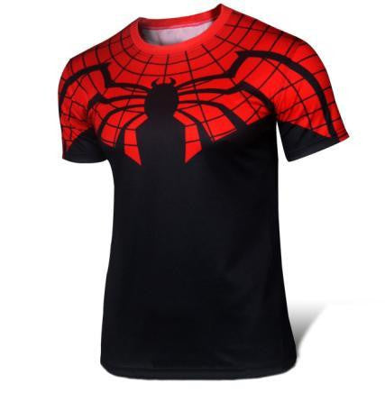 2016 Marvel Spiderman black-red top short sleeve fashion men sport fitness t shirt round neck