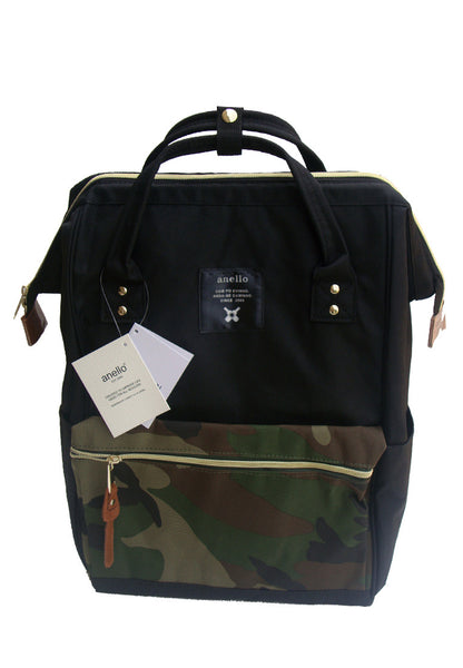 Authentic Anello Japan Imported Canvas Unisex Multicolour Black Camo Backpack - Lulugift.com :Affordable Designer Handbags malaysia bag murah
