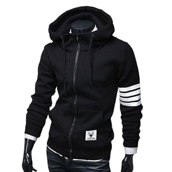 2015 NEW Fashion Men Black Hoodies Brand Sports Suit High Quality Men Sweatshirt Hoodie Casual Zipper Hooded Jackets Male M-3XL