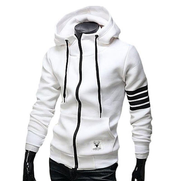 2015 NEW Fashion Men White Hoodies Brand Sports Suit High Quality Men Sweatshirt Hoodie Casual Zipper Hooded Jackets Male M-3XL