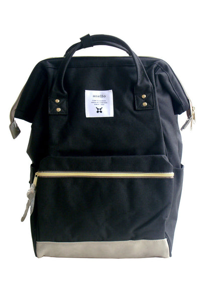 Authentic Anello Japan Imported Canvas Unisex Multicolour Black Backpack - Lulugift.com :Affordable Designer Handbags malaysia bag murah