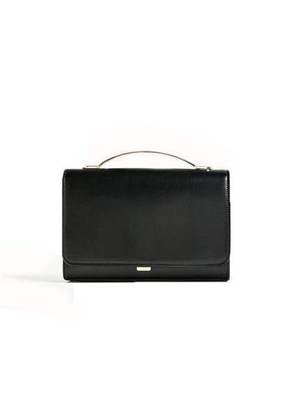 Metal Handle Shoulder Bag Black