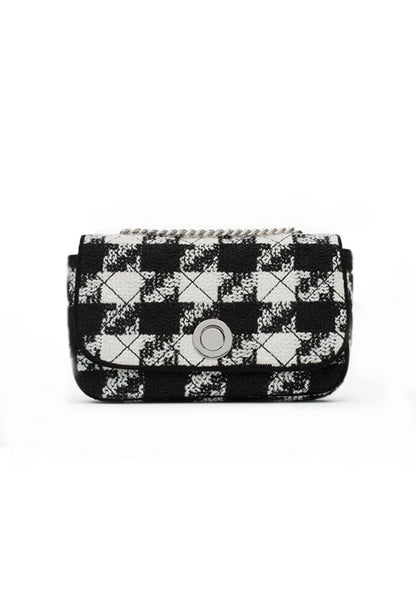 Black/White Checkered Pattern Sling Bag