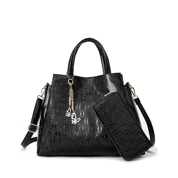 US Style 2 in 1 Ladies Multifuctioned Handbag With Wallet Black