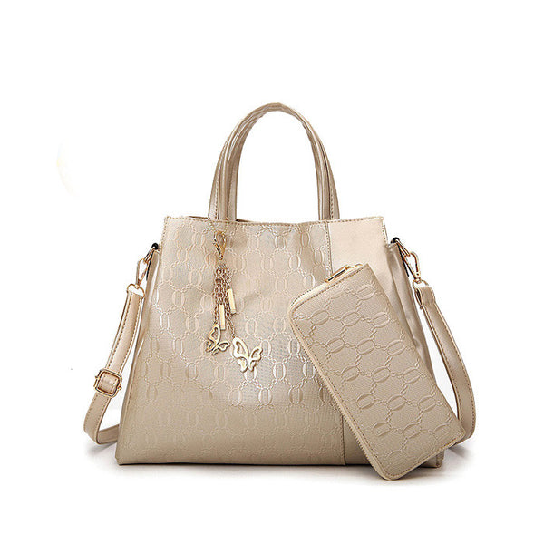 US Style 2 in 1 Ladies Multifuctioned Handbag With Wallet Gold