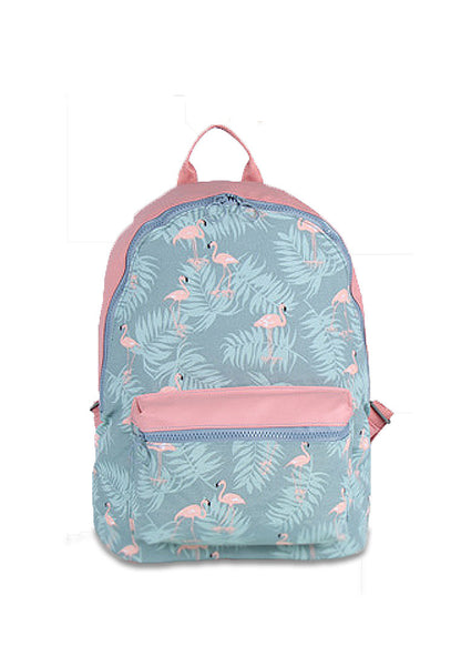 Floral Casual WaterProof Backpack Gray Egrets