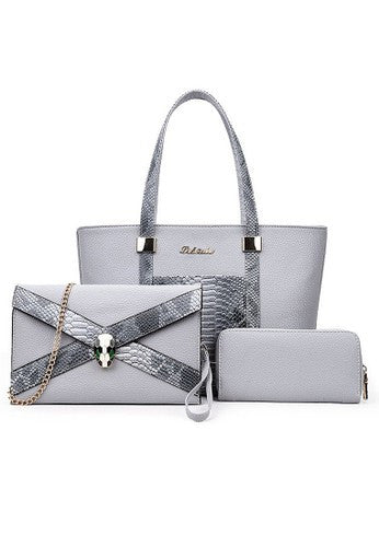 Luxury Glamour Artificial Crocodile PU Leather 3in1 Set Grey Bag