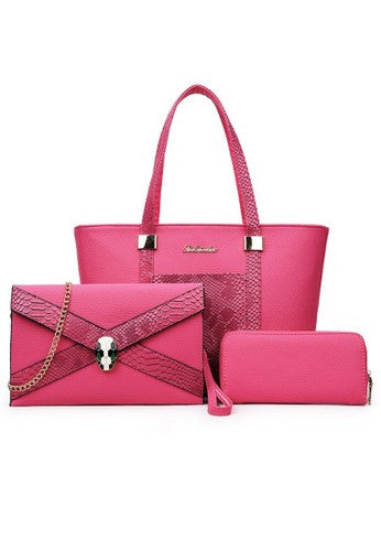 Luxury Glamour Artificial Crocodile PU Leather 3in1 Set Pink Bag