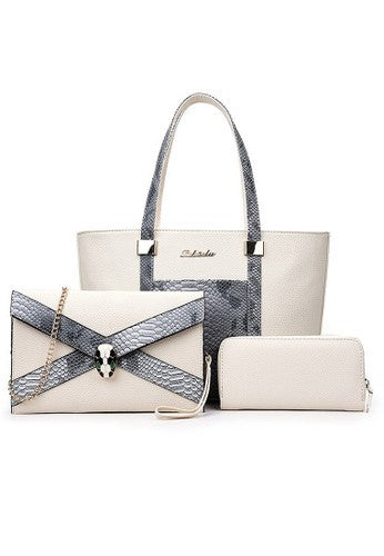 Luxury Glamour Artificial Crocodile PU Leather 3in1 Set White Bag
