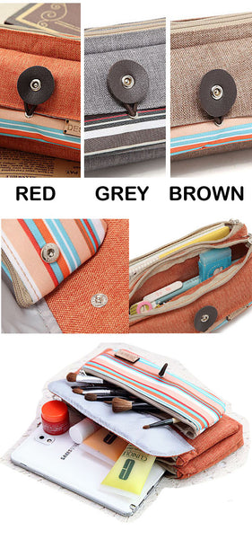 Colorful Stripe Oxford Cloth Multiple Pencil Casing Brown - Lulugift.com :Affordable Designer Handbags malaysia bag murah