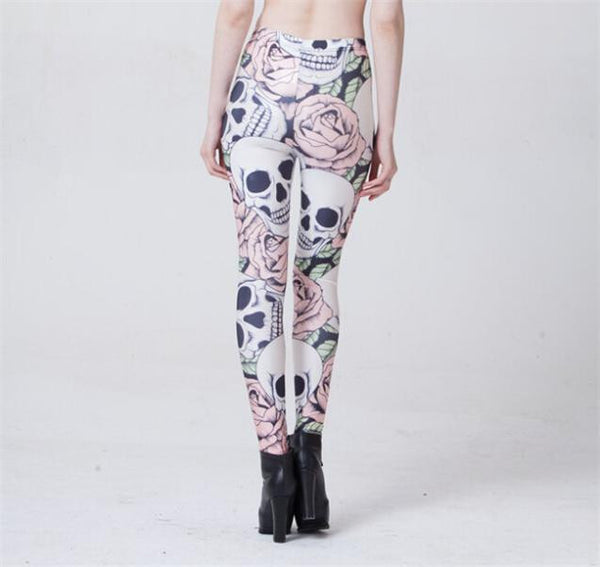 2015 New Fashion ROSE & SKULL Printed Female Fitness sportwear Leggings Femininos Fashion Slim Elastic Pants Women Leggins Mujer - Lulugift.com :Affordable Designer Handbags malaysia bag murah