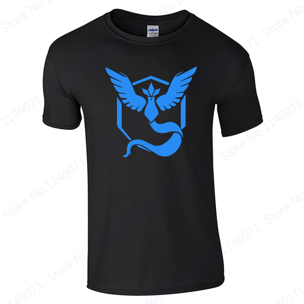 Blue Mystic Team T-Shirt Instinct Team O Neck Men Shirt Valor Team Short Sleeve Womens Top Tee Black Pokemon Go Running T Shirts - Lulugift.com :Affordable Designer Handbags malaysia bag murah