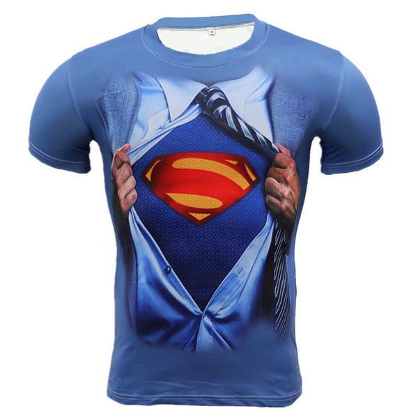 2016 New Sport Fitness Compression Shirt Men Superhero Superman blue Bodybuilding Short Sleeve 3D T Shirt Gym Crossfit Running Tops Shirts