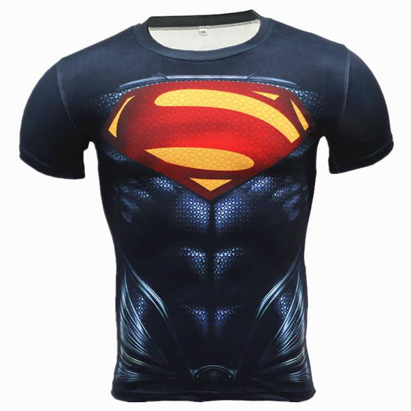 2016 New Sport Fitness Compression Shirt Men Superhero Superman 2 Bodybuilding Short Sleeve 3D T Shirt Gym Crossfit Running Tops Shirts