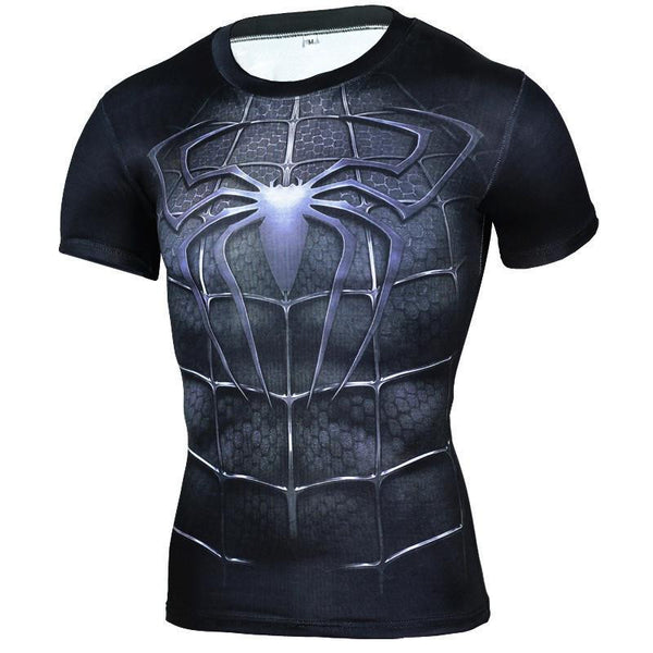 2016 New Sport Fitness Compression Shirt Men Superhero Spiderman black Bodybuilding Short Sleeve 3D T Shirt Gym Crossfit Running Tops Shirts