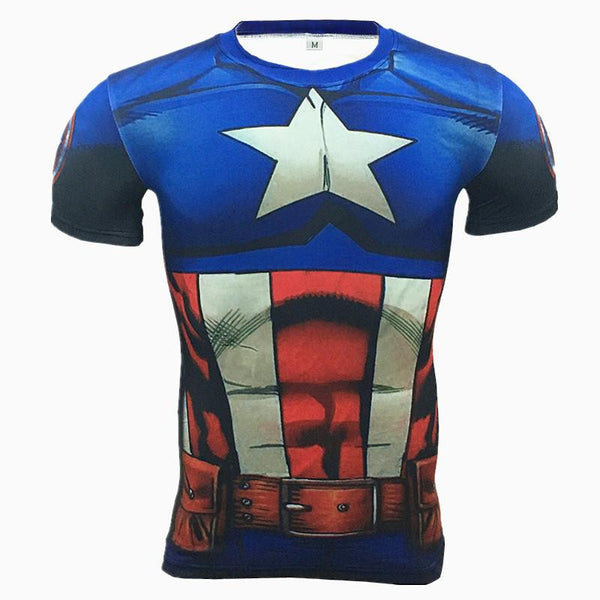 2016 New Sport Fitness Compression Shirt Men Superhero Captain America Bodybuilding Short Sleeve 3D T Shirt Gym Crossfit Running Tops Shirts
