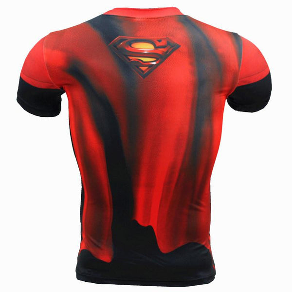 2016 New Sport Fitness Compression Shirt Men Superhero Superman Bodybuilding Short Sleeve 3D T Shirt Gym Crossfit Running Tops Shirts