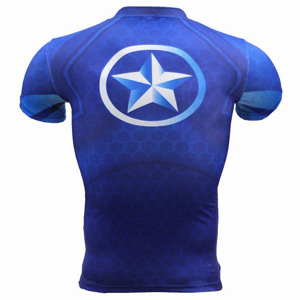 2016 New Sport Fitness Compression Shirt Men Superhero Captain America blue Bodybuilding Short Sleeve 3D T Shirt Gym Crossfit Running Tops Shirts