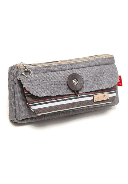 Colorful Stripe Oxford Cloth Multiple Pencil Casing Grey - Lulugift.com :Affordable Designer Handbags malaysia bag murah