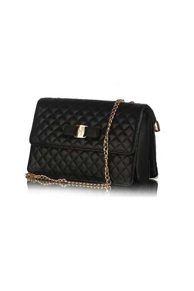 Classic Quilted Fashion Silver Flap bag Black - Lulugift.com :Affordable Designer Handbags malaysia bag murah