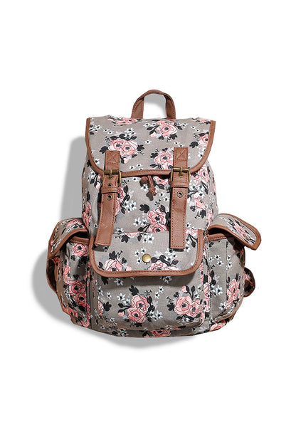 US Design Floral Pattern Canvas Backpack