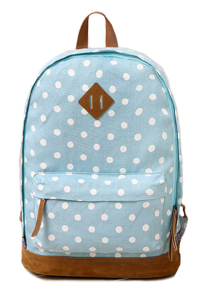 US Import Canvas Backpack Polka Pattern Blue Collection 2