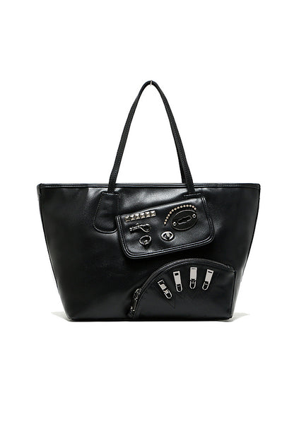 Angry Funky Punk Metal Kit PU Leather Shoulder Bag Black - Lulugift.com :Affordable Designer Handbags malaysia bag murah