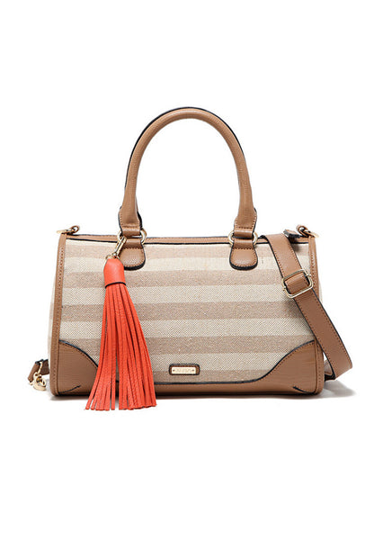 Europe Design Canvas 2 side can use Jute PU Leather Sling Hang Bag - Lulugift.com :Affordable Designer Handbags malaysia bag murah