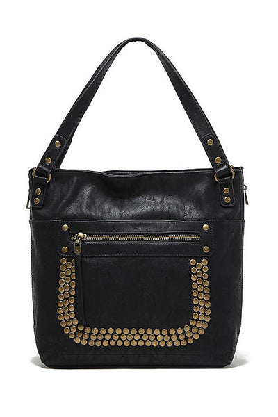 Copper Rivet PU Leather Shoulder Handbag Black - Lulugift.com :Affordable Designer Handbags malaysia bag murah
