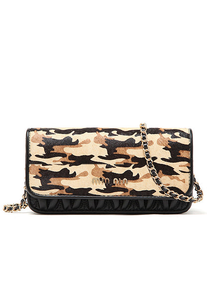 Uptown Girl Gold Chain Clutch Sling Bag Camouflage Color