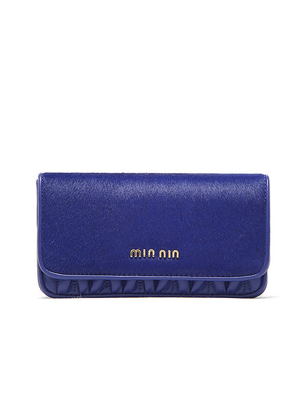Uptown Girl Gold Chain Clutch Sling Bag Blue