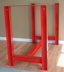 I beam table base in red