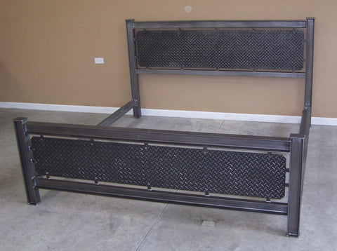 Industrial steel bed frame