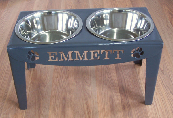 Custom Personalized Elevated Dog Feeder Stand Large Raised