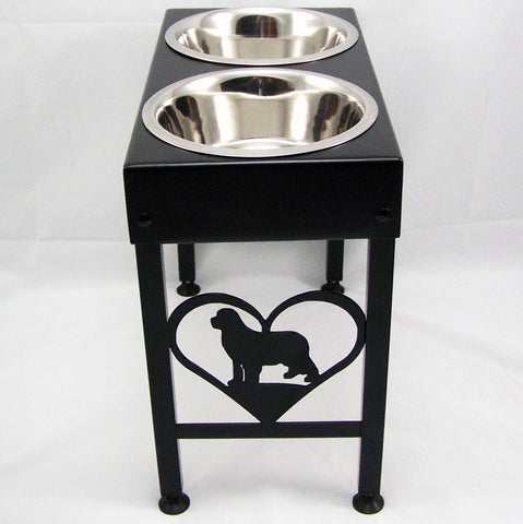 "Custom Newfoundland Feeder 21"" tall double bowls black"