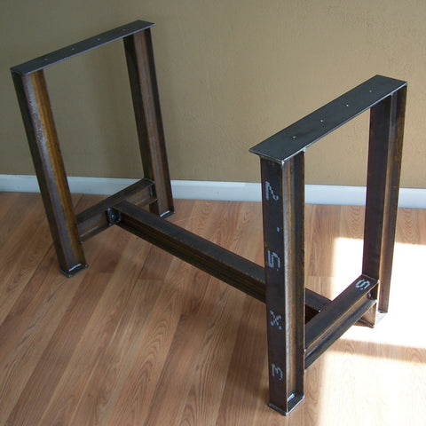 Custom I Beam Table Base in Satin Black