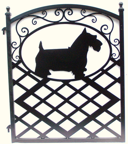 Custom gate with Cairn Terrier