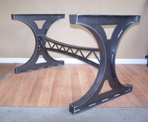 2 Custom steel trestle table bases with casters in black