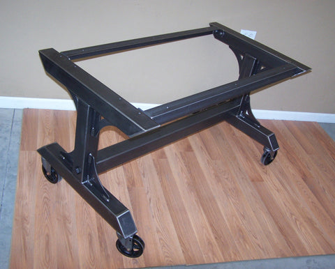 Custom triple leg table base with casters in black